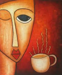 coffee at work modern art oil painting