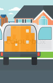 Open front door illustration Clip Art Background Of Delivery Truck With An Open Door And Cardboard Boxes In Front Of House Vector Flat Design Illustration Vertical Layout Vector Colourbox Background Of Delivery Truck With An Open Door And Cardboard Boxes