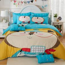 personalized sky blue yellow red beige and coffee brown cartoon character dog print cute funny kids cotton full queen size bedding sets