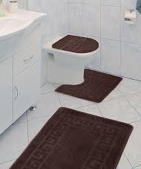 chocolate greek key three piece bathroom rug set