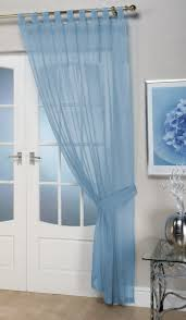 opaque blue voile curtain panel