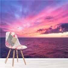 Purple Sky Muurschildering Oceaan Zonsondergang Fotobehang Woonkamer
