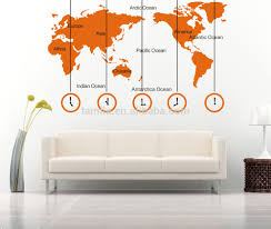 World Map Home Decor World Map And Time Zone Large Wall Sticker Decal Tv Sofa