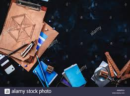 Designer Draftsman Header With Draftsman Or Designer Workplace With Craft Paper