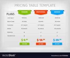 Plan Comparison Chart Colorful Comparison Pricing Table Template