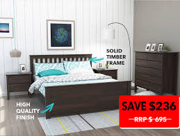 Modern Bedroom Furniture Melbourne Dandenong Queen Bed Frame Chocolate Brown B2c Furniture