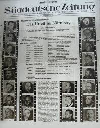 walter funk org newspaper article showing the nuremberg defendants funk is the top of the second column from the left