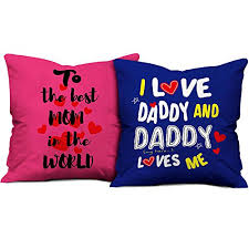 indibni to the best mom daddy i love you cushion set of 2 with filler 12x12 pink blue gift for mom dad mother father on birthday anniversary