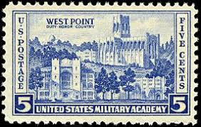 united states military academy  image of a u s commemorative stamp featuring buildings at west point