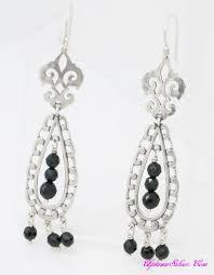 silpada regal elegance chandelier earrings 925 sterling silver black agate bead vintage look 2 75 inch dangle