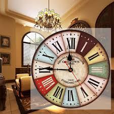 retro vintage wooden decorative round wall clock