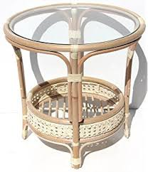 round rattan coffee table. Pelangi Handmade Rattan Round Wicker Coffee Table With Glass, White Wash