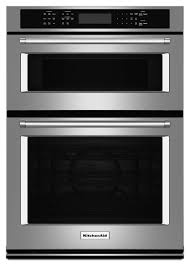 kitchenaid 27 electric self cleaning convection wall oven microwave combo stainless steel