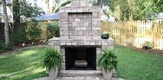 outdoor fireplace made with pavestone pavers