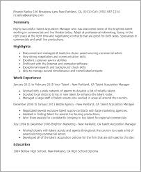 Talent Acquisition Resume Sample A Good Resume Example