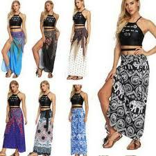 <b>2019 Women Boho</b> Tribal Floral <b>Skirt</b> Maxi Summer Beach Long ...