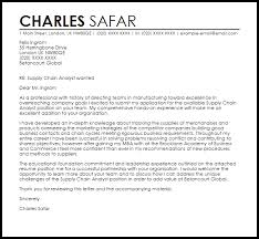 Supply Chain Analyst Cover Letter Sample
