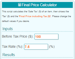 7 5 Sales Tax Chart Sales Tax Calculator