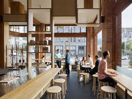 The design of this modern cafe is a fusion of past and present with the  industrious