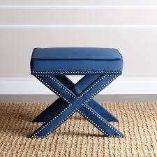 navy blue bench. Abbyson Marcus Navy Blue Nailhead Trim Ottoman Bench