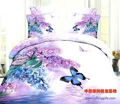 light purple duvet cover king 3d blue purple erfly bird fl flower cotton bedding sets queen