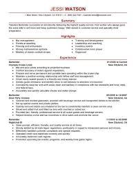 Bartender Resume Templateesume Skills For Bartenderwaiter Objective