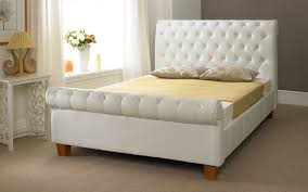 upholstered leather sleigh bed. Incredible The Elegant Leather Sleigh Bed Home Design Blog Regarding White Upholstered 3