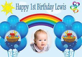 1st birthday banner noahs ark personalised birthday banner poster 1st birthday any name
