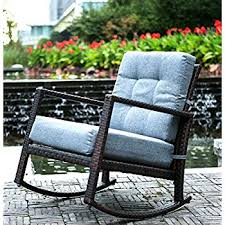 outdoor furniture rocking chairs. Merax Cushioned Rattan Rocker Chair Rocking Armchair Outdoor Patio Glider Lounge Wicker Furniture With Chairs O