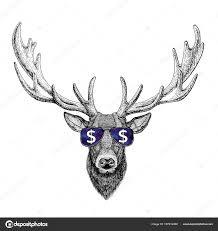 олень в очках с знак доллара иллюстрации с диких животных для