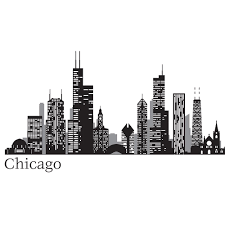 wallpops black chicago cityscape wall decal