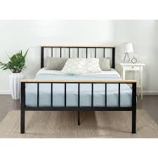 zinus contemporary metal and wood black queen platform bed frame