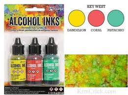 Adirondack Alcohol Ink Colour Chart Alcohol Ink 3 Pack Key West Set Dandelion Coral Pistachio