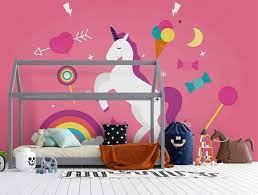3D Cartoon Pink Unicorn Love Wall Mural ...