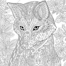 Small Picture Fox Adult Coloring Page Zentangle Doodle by ColoringPageExpress