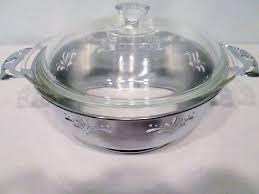 details about vtg pyrex clear glass bakeware serving bowl lid silver chrome cut out pierced