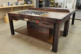 rustic industrial kitchen island design with cooktop and drawers in diy kitchen island ideas