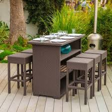 milton outdoor 7 piece brown wicker bar set by christopher knight home brown set patio source outdoor
