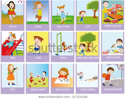 Verb Action Verbs Action Pictures Colorful Cartoon Education Stock Image