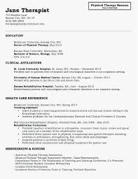 30 Physical Therapy Resume Sample New Best Resume Templates