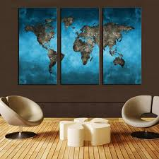 on 3 piece wall art with blue world map art