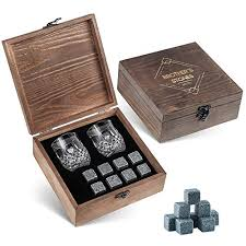 whiskey stones gift set 8 granite chilling whisky rocks 2 crystal shot gles in