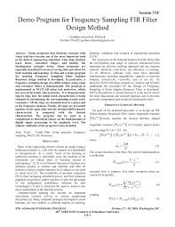 Frequency Sampling Method Fir Filter Design Pdf Demo Program For Frequency Sampling Fir Filter Design