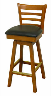 Ladder Back Restaurant Bar Stool With Swivel Seat Cqbooths Blk Cushion  Black Oak Breakfast Chairs Kitchen 36 Stools T26