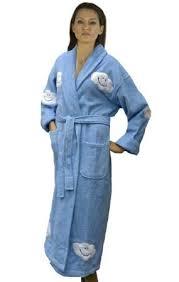 terry cloth bathrobe. Cloud Appliqued Women S Bathrobe 100 Cotton Terry Cloth Long Lt Inside Womens Plan 5