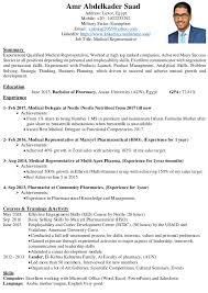 Analytical Skills Resumes Amr Saad Cv Resume Medical Representative Pharmacist