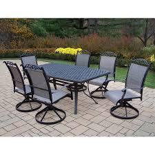 7 piece patio dining set. Oakland Living Cascade Sling 7-Piece Black Metal Frame Patio Dining Set 7 Piece A