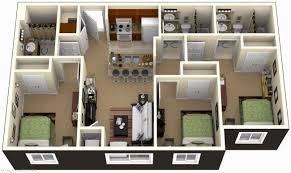 3 Bedroom House Plans 3D Design With 3 Bathroom