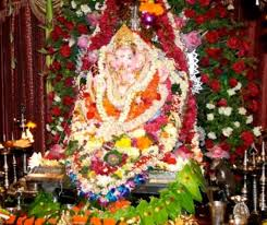 ganpati decoration with fresh flower ganesh chaturthi ganesh