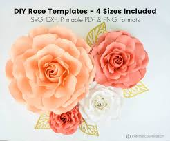 Giant Paper Flower Template Pdf Giant Paper Roses Ella Style Extra Large Large Medium And Small Sizes